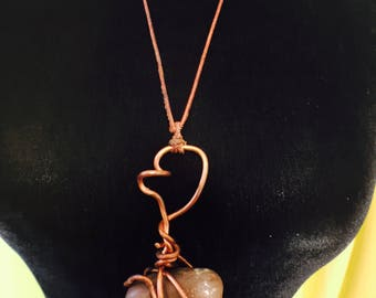 Copper Twisted Stone Necklace