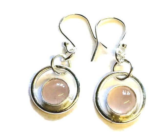 Rose Quartz Circle Drop Earrings