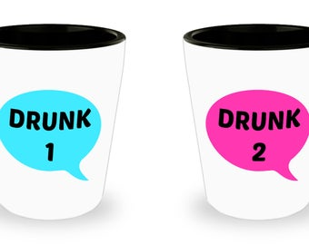 Set of 2 Unique Shot Glasses, Drunk 1 and 2 / Novelty Gift for Him - Her / A Original Present for Father Day or Bithday / 1.5OZ Ceramic