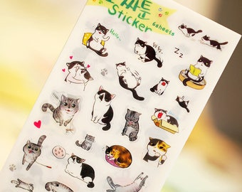 Cat Stickers 6 sheets - Cute Decorative Stickers - Kawaii Stationery - Transparent - Planner - Diary - Bullet Journal - Scrapbooking - DIY
