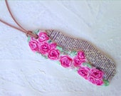 Shabby Chic Roses Pendant Leather Cord Modeling Clay Book Paper Jewellery Pink Modeled Handpainted Flowers French Dictionary Paper Art Green