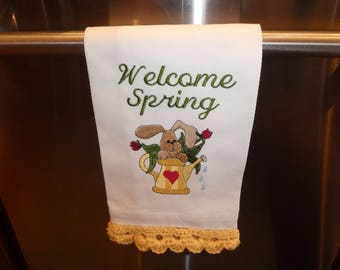 Welcome Spring, white cotton towel, machine embroidered, bunny, watering can, tulips, crocheted edging, kitchen towel, housewarming gift