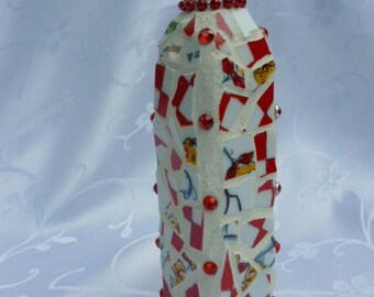 Red and White Mosaic Vase