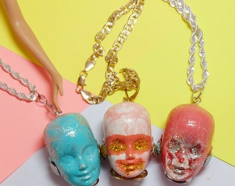 Barbie head necklace /vintage doll/Vintage Mattel / weirds/style/remade/mixed art