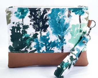 Emilia Clutch - wristlet purse - wild forest - faux leather - travel wallet - free shipping