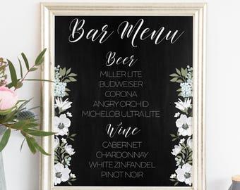 Printable. Bar Menu Sign, bar sign, wedding bar sign, reception sign, wedding drinks, Chalkboard sign, Beer list sign, Wine list sign, 00L6