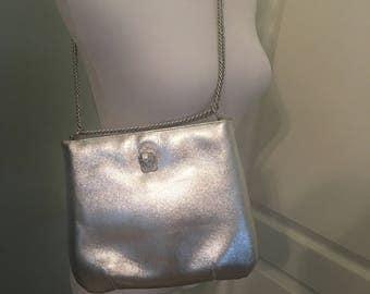 1970s Vintage Silver Lionhead Ruth Stalz Bag