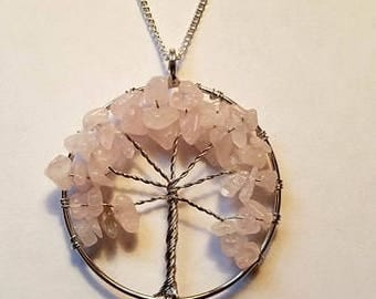 Tree of Life Necklace Crystal Tree Of Life Necklace Tree Of Life Pendant Rose Quartz Tree Of Life Rose Quartz Crystal