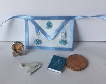 DollHouse miniature  1:12 scale minis Masonic Apron photo gloves and book set