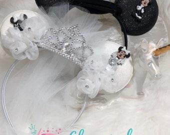 Bride and Groom Wedding Mickey Ears, Mr. & Mrs. Newlywed Set with veil, Disney, Disneyland Just Married, Anniversary, Bachelor, Bachelorette