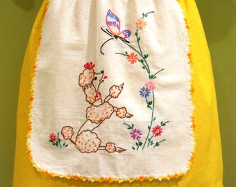 Half Apron - Embroidered Poodle/Gold Print