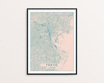 Tokyo Blush Pink City Map Print, Clean Contemporary poster fit for Ikea frame 50x70cm, gift art him her, Anniversary personalized