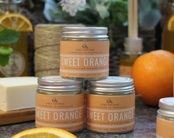 Energising sweet-orange, coconut oil Hand and Body Cream - Intense, natural, soothing, vegan