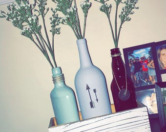 Earth tones wine bottle decor (set of 3)