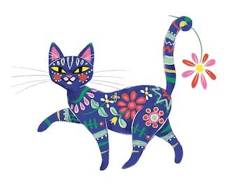 Painted Cat, blue