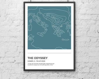 The Odyssey Homer Topographic Map Print | minimalist | illustration | design | poster | travel | topography | literature | book