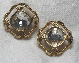 Vintage crystal and gold tone clip-on earrings