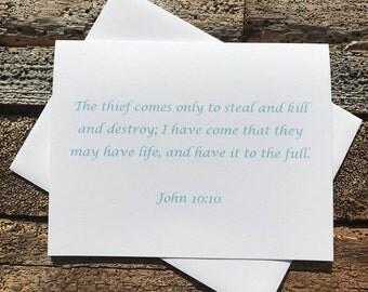 John 10:10 Bible Verse Note Card