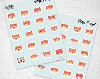 Emoji Planner Stickers, Fox Stickers, Deco Stickers, Erin Condren, Happy Planner