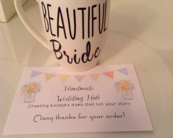 Bride Mug, Bridesmaid Mug, Personalised Bride to Be Mug, Bridesmaid Gift, Maid of Honour Mug, Gift for the Bride, Wedding Mug