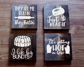 Set Of 4 Funny Kitchen Signs 2, Kitchen Signs, Farmhouse Sign, Rustic Sign