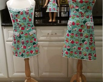 Mother Daughter Doll Cupcake Apron