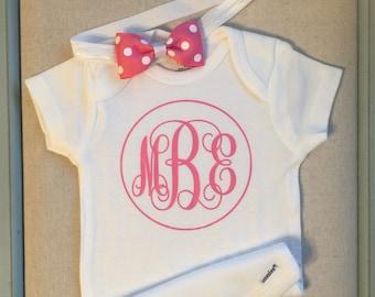 Monogrammed Onesie, Newborn outfit, Personalized Baby Onesie, Baby shower gift
