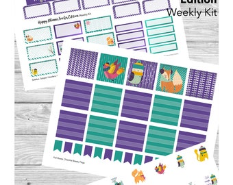 Ultraviolet Woodland Animals Teacher Planner Stickers; for Happy Planner Teacher Edition; PRINTABLE sticker weekly kit with cut files