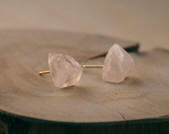 rose quartz stud