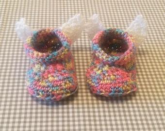 Handmade Baby Gift |  Crochet Baby Booties | Rainbow Angel Wings Booties | Handmade | Baby Shower Gift | New Baby | Baby Boy | Baby Girl