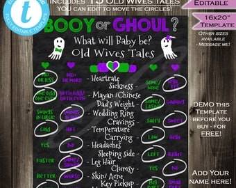 Gender Reveal Old Wives Tales Chalkboard Halloween Ghost Ghoul Party Board Sign Personalize Custom Digital Printable INSTANT Self EDITABLE