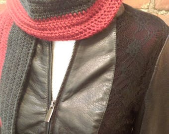 Red and Black Color Block Scarf