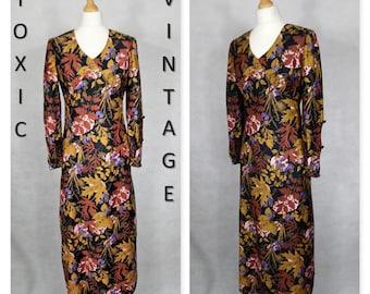 VINTAGE 1960's 1970's Black Brown Floral AUTUMNAL MAXI Dress. Uk 10-12. Boho, Retro, Geek Chic, Cute, Elegant, Stunning, Unique, Occasion,