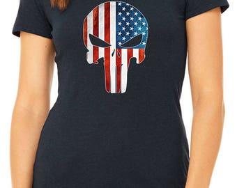 American Flag Punisher  T-shirts for Women TST-FAFP1-W