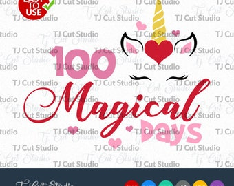 100 Magical Days Svg, School Magical Days, 100 Days of school svg, Svg Files for Silhouette Cameo or Cricut, Commercial & Personal Use.