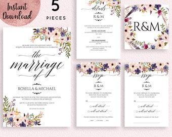 Floral Wedding Invitation Suite Template, Printable DIY Wedding Invitation Kit, 5x7 Script Font Invitation, Digital Download, Editable PDF