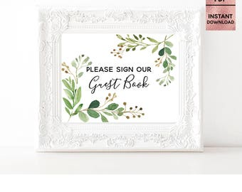 Please Sign Our Guest Book, Green Leaves Table Sign, Printable 5x7 8x10 Script Font Wedding Sign, Ceremony, JPEG, PDF, Digital Download