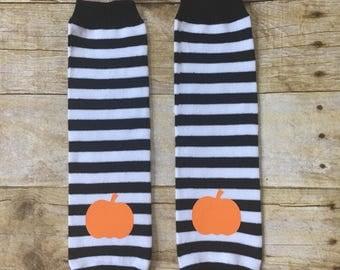 Halloween Leg Warmers, Stripe Leg Warmers, Stripe Leggings, Baby leg warmers, Pumpkin Halloween leggings, Halloween leg Warmers, Baby Boy