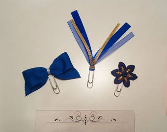 Set of 3 Planner Clips - Blue and Gold set