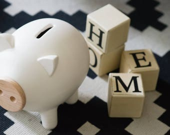 White matte piggy bank, baby shower, ceramic piggy bank, large piggy bank, kids gift, housewarming gift, nursery, nordic design, PIGZ