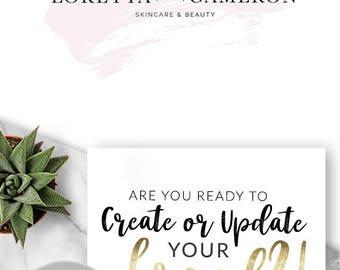 228 - Loretta & Cameron, LOGO Premade Logo Design, Branding, Blog Header, Blog Title, Business, Boutique, Paint, Simple, Modern, Pink,