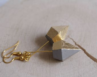 Concrete diamond earrings long GOLDY geometric gold