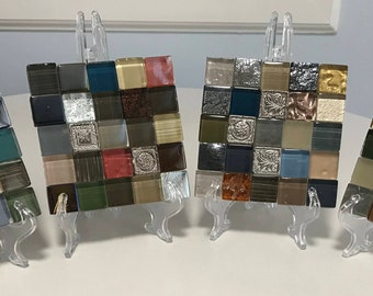 "Glass Tile Coaster Set Set of 4 ""Mint"""