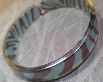 Zebra Print Lucite Cuff Bracelet