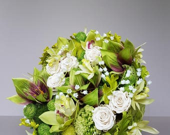 Bridal bouquet, permanent, modern, round  made of ivory roses and green orchids cymbidium, bride's bouquet