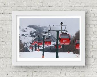 Stowe, Vermont Ski Snowboard Gondola Digital Art Print