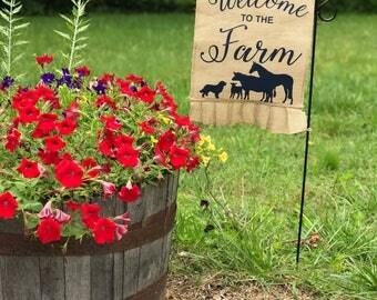 Welcome to the Farm Ruffle Burlap Garden Flag