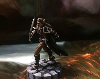 High Elf Fighter/ Rogue Hand-painted RPG Mini for Tabletop Gaming