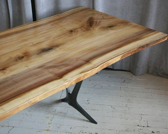 Reclaimed Wood Dining Table with Metal Legs, Live Edge with Trestle Base