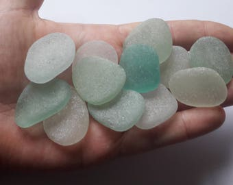 12 large assorted colors sea glass / sea glass french